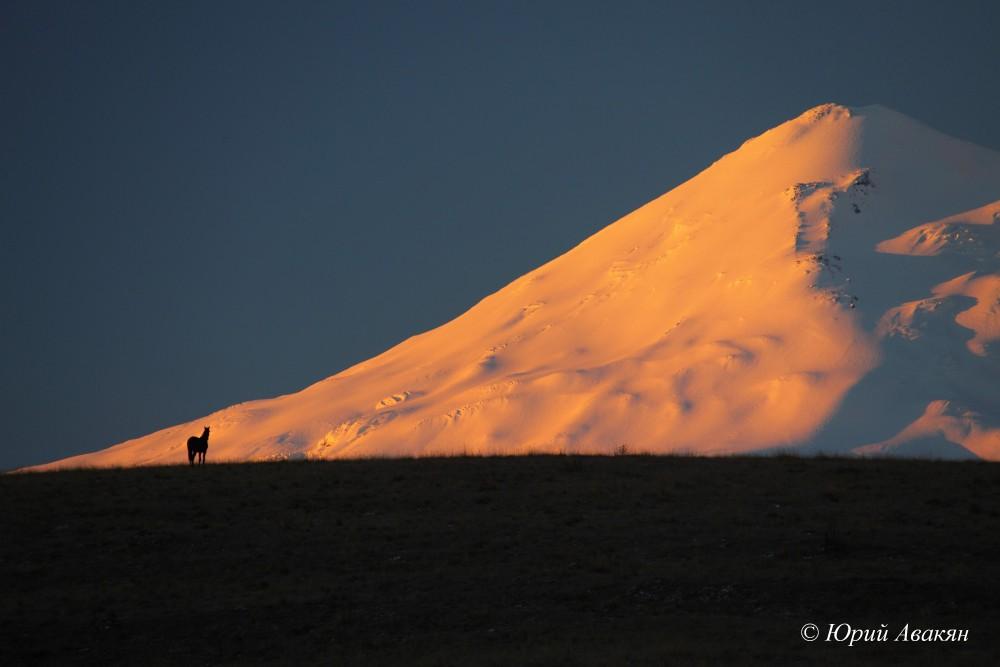 Вид на Эльбрус с плато Харбаз